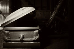 Coffin. Taken at an old abandoned mental hospital Royalty Free Stock Photography