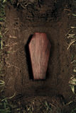 Coffin or tomb at graveyard Royalty Free Stock Photo