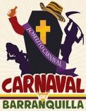 Coffin for Traditional Joselito`s Death Scene in Barranquilla`s Carnival, Vector Illustration Royalty Free Stock Image