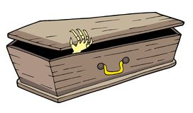 Coffin with waving hand Stock Photo