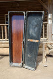 Coffin in wild west town. Coffin at the entrance to the city. Wild West Town Stock Photo