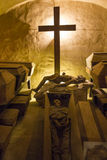 Coffins with the bodies of monks - Holy Cross Monastery, Poland Stock Photos