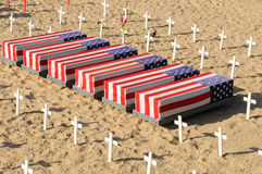 Coffins and Crosses at Santa Monica Beach Royalty Free Stock Images