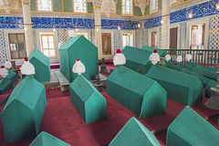 Coffins in an old Turkish mausoleum Stock Photography