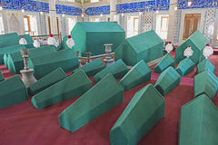 Coffins in an old Turkish mausoleum Royalty Free Stock Photos