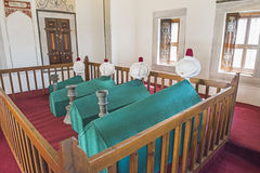 Coffins in an old Turkish mausoleum Stock Photo