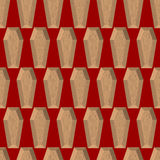 Coffins seamless pattern on a red background. Wooden coffin. Vec Royalty Free Stock Photos