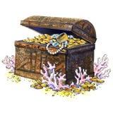 Coffre au trésor antique, pièces de monnaie, bijoux, d'isolement Horizontal sous-marin Illustration d'aquarelle Photo stock