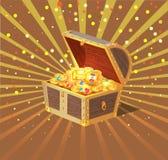Coffre au trésor, cercueil en bois rempli de l'or illustration de vecteur