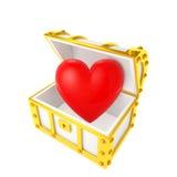 Coffre au trésor contenant le coeur Photos stock