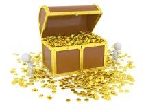 Coffre au trésor 3D énorme avec des pièces d'or et des caractères 3D Image libre de droits