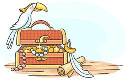 Coffre au trésor et un perroquet Images libres de droits