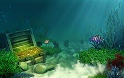 Coffre au trésor submergé Photos stock