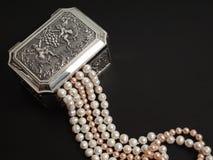 Coffre avec des perles Image stock
