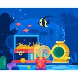 Coffre d'or dans le sable sous l'eau Marine Life Landscape - l'océan et le monde sous-marin avec différent Image libre de droits