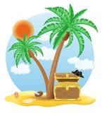 Coffre d'or se tenant sous une illustration de vecteur de palmier Images stock