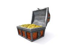 Coffre de trésor avec la pièce de monnaie Photographie stock