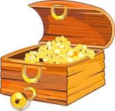 Coffre en bois avec de l'or Photo stock