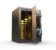 Coffre-fort avec de l'or à l'intérieur Images stock