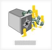Coffre-fort avec de l'argent et les pièces de monnaie A Photo libre de droits