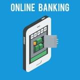 Coffre-fort avec l'argent sur l'écran de téléphone Photo libre de droits