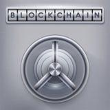 Coffre-fort avec la serrure de blockchain Images stock