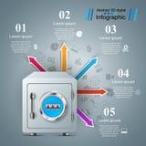 Coffre-fort, clé, icône de serrure Affaires Infographic Photo libre de droits