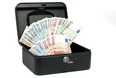 Coffre-fort d'argent avec l'euro argent comptant Images stock