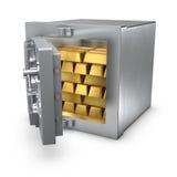 Coffre-fort de côté avec des bars d'or Photographie stock libre de droits