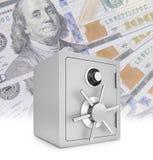 Coffre-fort de sécurité avec de nouveaux cent billets d'un dollar illustration libre de droits