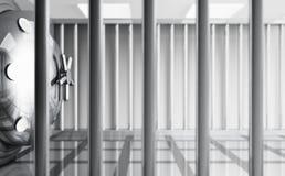 Coffre-fort derrière des bars Photo libre de droits