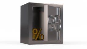 Coffre-fort en métal de sécurité avec le symbole d'or à l'intérieur Photo stock
