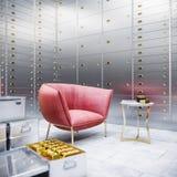 Coffre-fort et boîtes de banque avec de l'or 3d Photographie stock