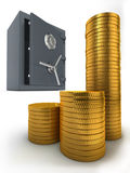 Coffre-fort et pièces de monnaie de côté Photo stock