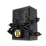 Coffre-fort fermé sur la serrure et la chaîne Bitcoin d'or Chemin inclus Images stock