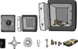 Coffre-fort ignifuge avec des pièces Photos stock