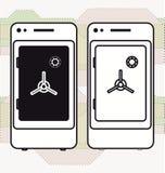Coffre-fort mobile de dépôt de coffres-forts d'opérations bancaires de Smartphone Photos stock