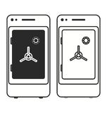 Coffre-fort mobile de dépôt de coffres-forts d'opérations bancaires de Smartphone Photographie stock