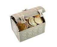 Coffre métallique avec la pièce de monnaie Photos libres de droits
