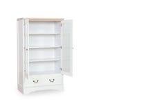 Coffret blanc ouvert d'entrée d'isolement avec le fond blanc avec l'espace Photographie stock