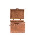 Coffret de cobre amarillo antiguo con la cerradura Fotos de archivo