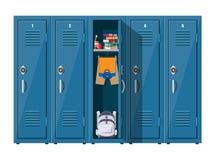 Coffrets bleus en métal avec des articles d'école illustration libre de droits