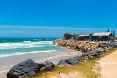 Australian coastal walk and sand beach at Coffs Harbour, Australia. Coffs Harbour, NSW, Australia- December 20, 2017 : Australian coastal walk and sand beach at Stock Photography