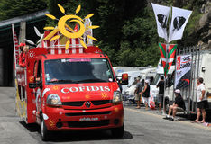 Cofidis car. Beost,France,July 15th 2011: The car of Cofidis during the passing of the advertising caravan on the category H climbing route to mountain pass Royalty Free Stock Photos