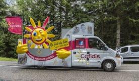 Cofidis-Fahrzeug - Tour de France 2014 Lizenzfreie Stockbilder