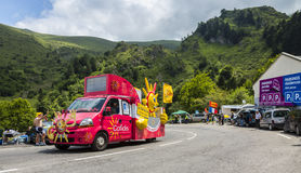 Cofidis Truck - Tour de France 2014. Col du Tourmalet, France - July 24,2014: Cofidis caravan during the passing of the Publicity Caravan on the road to Col de stock photography