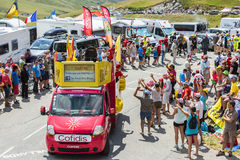 Cofidis Vehicle in Alps - Tour de France 2015 Stock Photography