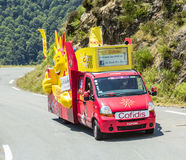 Cofidis Vehicle in Pyrenees Mountains - Tour de France 2015 Stock Photography