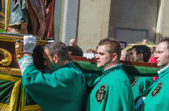 Cofrades carrying a Paso in the Valladolid Holly week Royalty Free Stock Photos