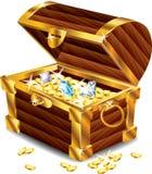 Cofre del tesoro abierto con los tesoros ilustración del vector